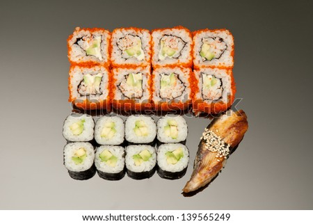 Japanese seafood sushi , roll set - stock photo