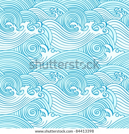 Japanese seamless waves pattern in ocean colors - stock photo