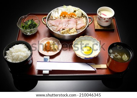 Japanese set meal with sukiyaki - stock photo