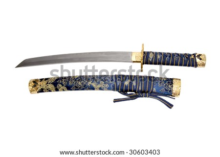 Japanese short katana with stheath isolated over a white background - stock photo