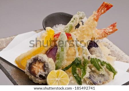 Japanese shrimp tempura  - stock photo