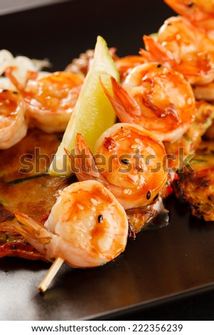 Japanese Skewered Prawns with Vegetables - stock photo
