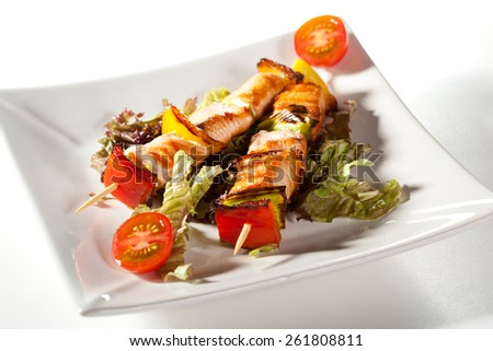Japanese Skewered Salmon with Vegetables - stock photo