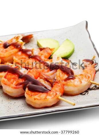 Japanese Skewered Shrimps with Mango - stock photo