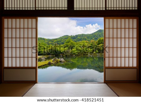 Japanese sliding doors and beautiful pond garden - stock photo
