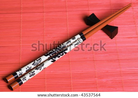 Japanese sticks. Eastern style.  Close up - stock photo