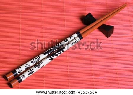 Japanese sticks. Eastern style.  Close up - stock photo