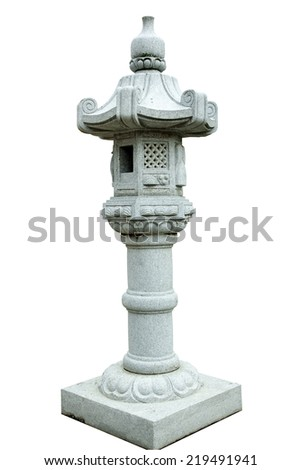 Japanese  Stone Lantern isolated on white background. This has clipping path - stock photo