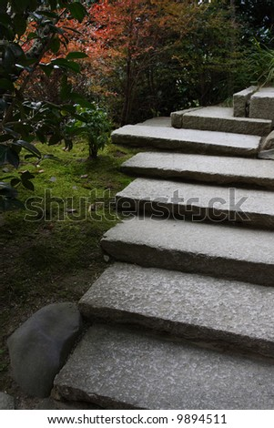 japanese stone stairs in zen garden in kyoto japan - stock photo