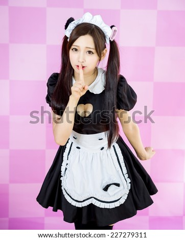 japanese style cute maid sexy dress  - stock photo