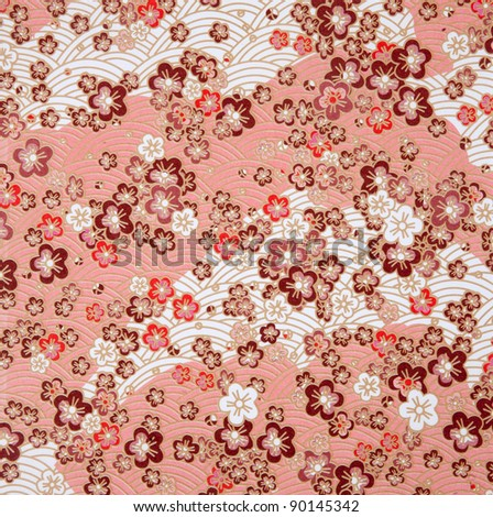 japanese style red  flower  and wave paper texture - stock photo