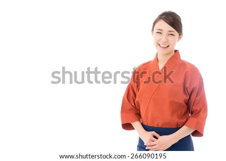Japanese style waitress isolated on white background - stock photo