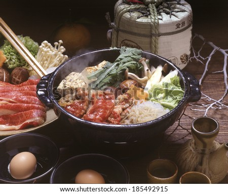 Japanese Sukiyaki dish - stock photo