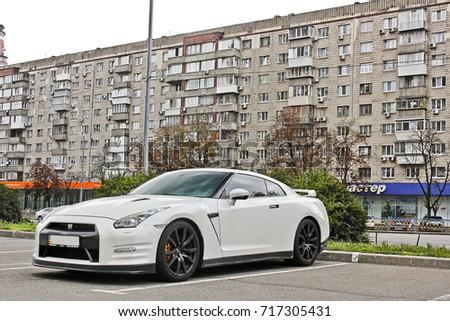 Japanese Supercar In The Ukrainian City. White Nissan GTR R35 (restyling).  Nissan
