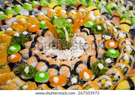 Japanese Sushi Buffet - stock photo