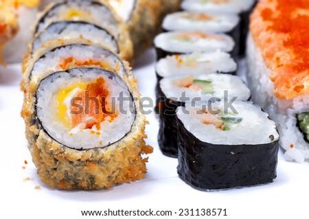 Japanese sushi close up isolated on a white background - stock photo