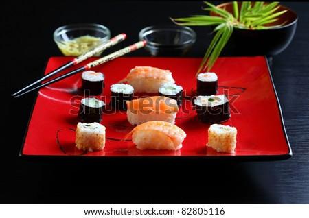 Japanese sushi food shot setting - stock photo