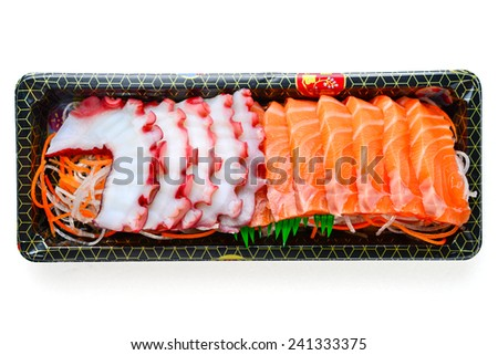japanese sushi food squid with salmon - stock photo