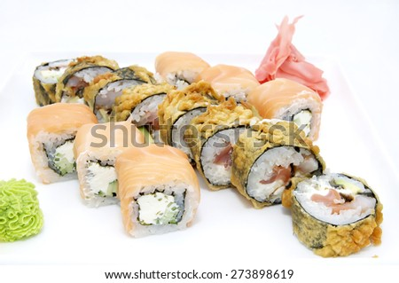 Japanese sushi on a plate on a white background