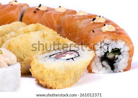 Japanese sushi on a white background closeup - stock photo