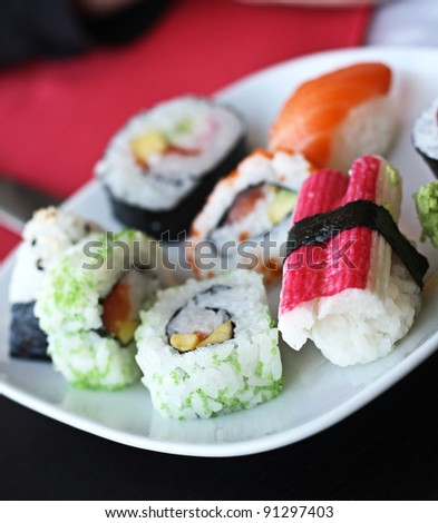 Japanese sushi on a white plate.
