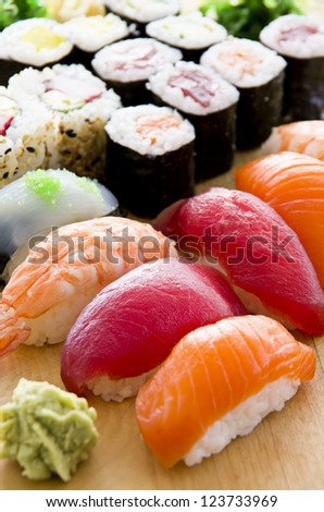 japanese sushi on the plate - stock photo