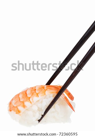 Japanese sushi ready to eat with chopsticks isolated on white