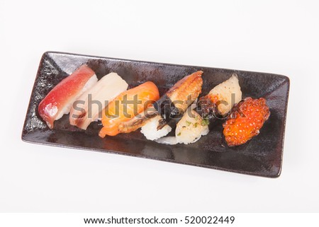Japanese sushi. Roll made of Smoked fish and roe, traditional Japanese food. Japanese food concept.