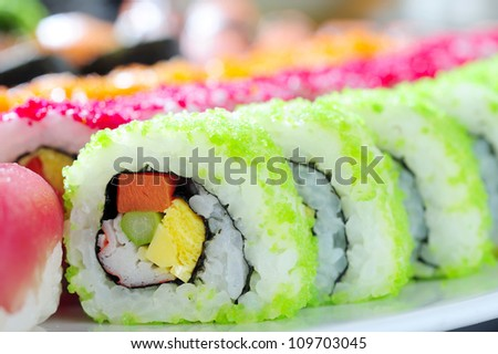 Japanese sushi rolls - stock photo