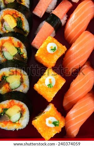 Japanese sushi rolls - stock photo
