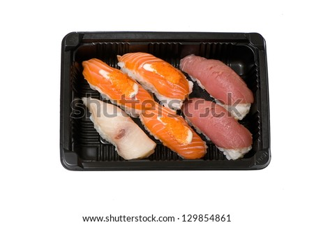 Japanese sushi seafood isolated on white background