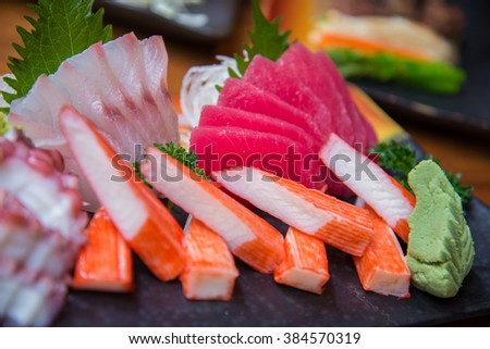 Japanese Sushi set with variety of fresh fish