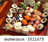 Japanese sushi 1, traditional japanese food, home sushi - stock photo