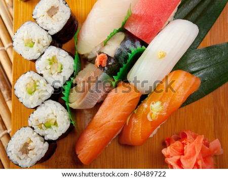 Japanese sushi  traditional japanese food.Japanese nigiri sushi - stock photo