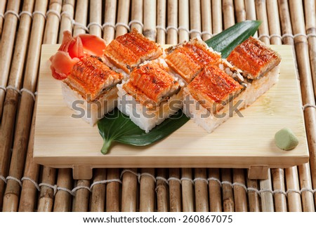 Japanese sushi  traditional japanese food.Roll made of Smoked eel - stock photo