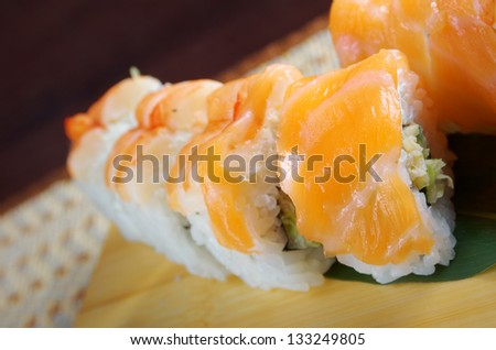 Japanese sushi  traditional japanese food.Roll made of Smoked fish