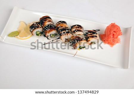 Japanese sushi with eel - stock photo