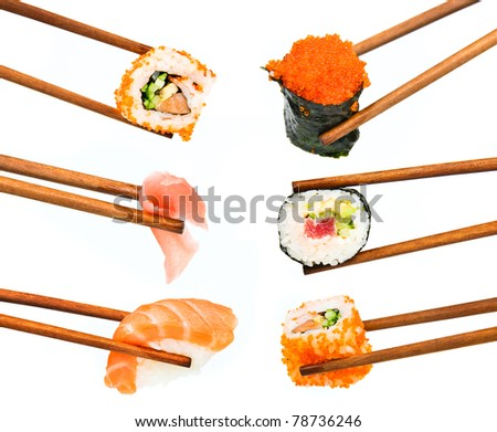 japanese sushi with rice, raw fish and seafood - stock photo