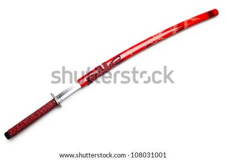 Japanese sword takana isolated on white - stock photo