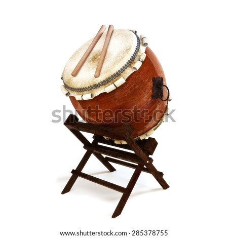 Japanese Taiko percussion drums instrument on a white isolated background. - stock photo