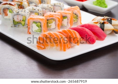 Japanese tasty sushi set on white plate