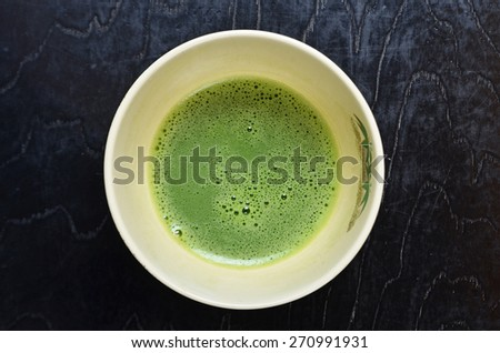 Japanese tea ceremony , Cup of Japanese green tea - stock photo