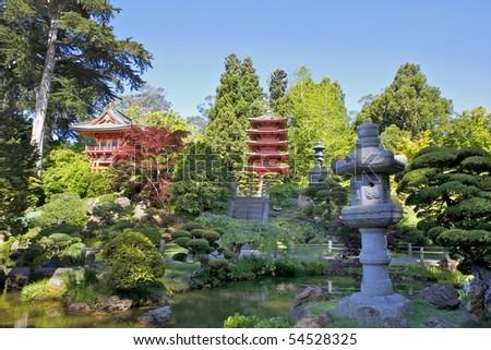Japanese Tea Garden Pagoda in San Francisco California - stock photo