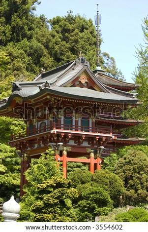 Japanese tea House in Golden Gate Park, San Francisco California - stock photo