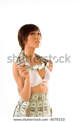 Japanese teenaged female clothed in US money