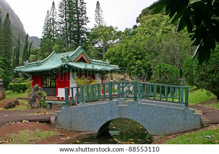 Japanese Temple in Kepaniwai Park and Heritage Gardens - stock photo
