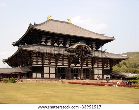 japanese temple in nara - stock photo