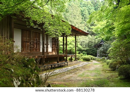 Japanese temple in the forest (Ohara, near Kyoto) - stock photo