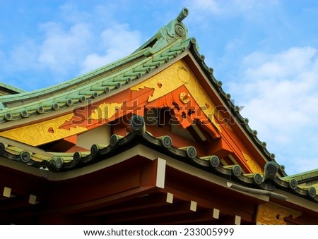japanese temple roof - stock photo