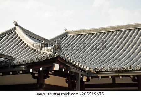 Japanese temple roof, Sanjusangendo Temple in Kyoto, Japan. - stock photo